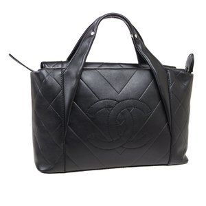 CHANEL V Stitch Quilted Jumbo CC Hand Bag